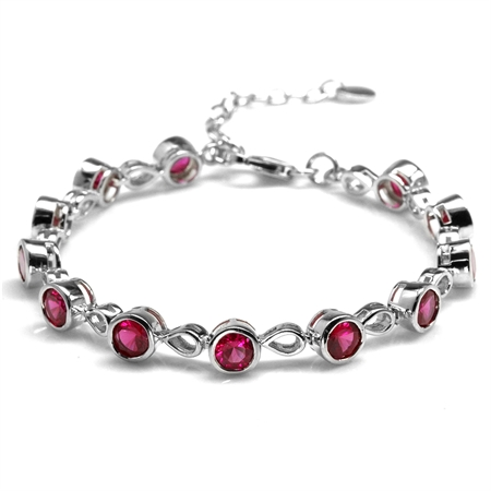 Simulated Ruby White Gold Plated 925 Sterling Silver 6.25-7.75 Inch Adjustable Tennis Bracelet