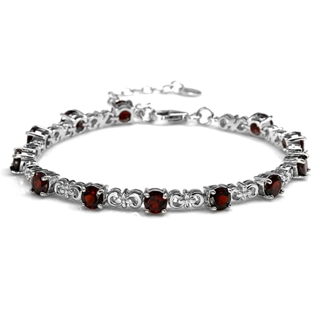 "6.48ct. Natural Garnet White Gold Plated 925 Sterling Silver Flower 7-8.5"" Adjustable Bracelet"