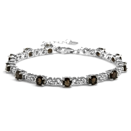 """5.64ct. Natural Smoky Quartz White Gold Plated 925 Sterling Silver Flower 7-8.5"""" Adjustable Bracelet"""