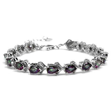 "13.12ct. Mystic Fire Topaz White Gold Plated 925 Sterling Silver Balinese 6.75-8.25"" Adj. Bracelet"