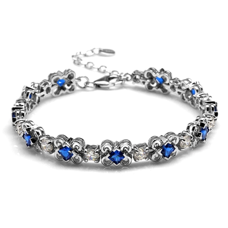 3.96ct. Synthetic Blue Sapphire White Gold Plated 925 Sterling Silver Bracelet Adj. 6.75-8.25
