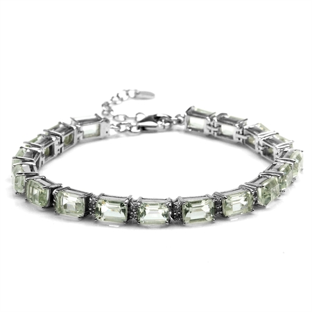 18.18ct. Octagon Green Amethyst Gold Plated 925 Sterling Silver Tennis Bracelet  Adj. 7-8.5