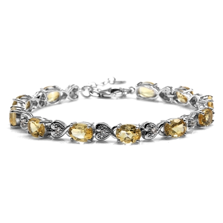 "12.43ct. Natural Citrine & Topaz 925 Sterling Silver Heart Victorian Style 7.25-8.75"" Adj. Bracelet"