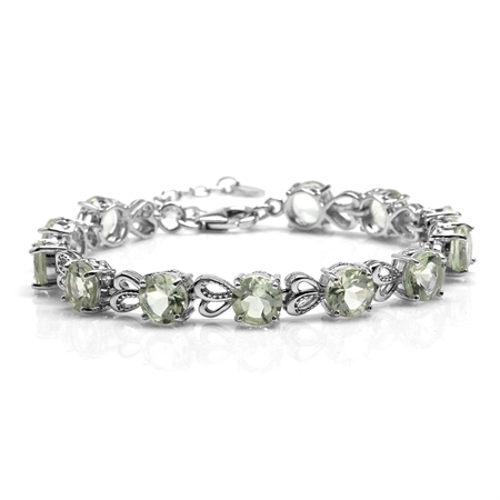 "15.6ct. Natural Green Amethyst White Gold Plated 925 Sterling Silver Heart 6.5-8"" Adj. Bracelet"