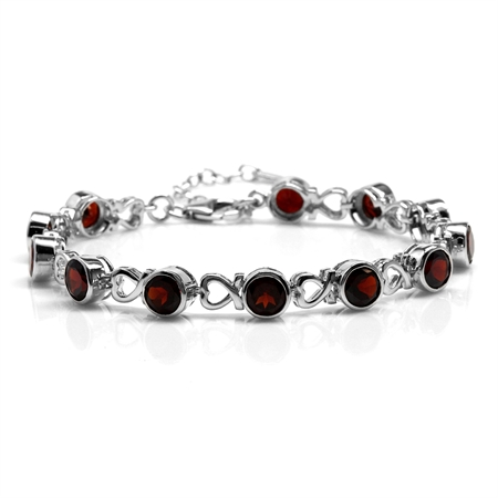 "11.52ct. Natural Garnet White Gold Plated 925 Sterling Silver Heart 7-8.5"" Adjustable Bracelet"