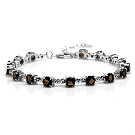 "7.68ct. Natural Smoky Quartz White Gold Plated 925 Sterling Silver Swirl 7.25-8.75"" Adj. Bracelet"