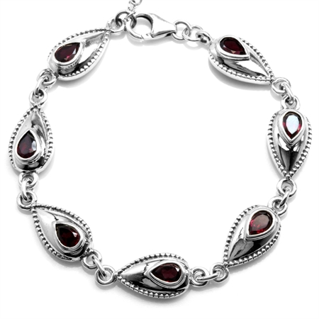 3.64ct. Natural Rhodolite Garnet Antique Finish 925 Sterling Silver 6.5-8 Inch Adjustable Bracelet