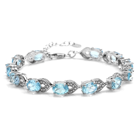 "17.16ct. Blue Topaz White Gold Plated 925 Sterling Silver Dots Pattern 7-8.5"" Adjustable Bracelet"