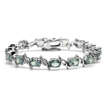 Simulated Color Change Alexandrite White Gold Plated 925 Sterling Silver Tennis Bracelet 6.5 Inch.