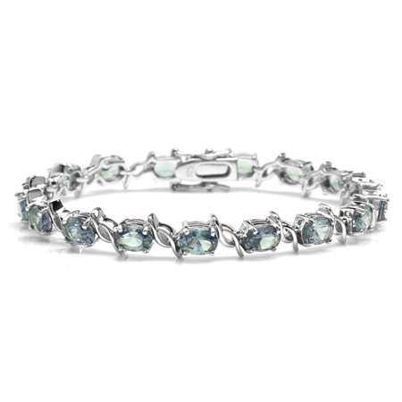 Simulated Color Change Alexandrite White Gold Plated 925 Sterling Silver Tennis Bracelet 7.5 Inch.