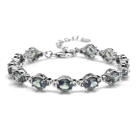 """Simulated Color Change Alexandrite White Gold Plated 925 Sterling Silver 6.5-8"""" Adj. Tennis Bracelet"""