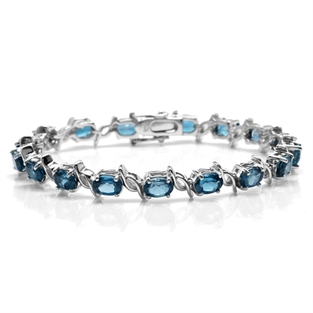 15.81ct. Genuine London Blue Topaz White Gold Plated 925 Sterling Silver Tennis Bracelet 7.5 Inch.