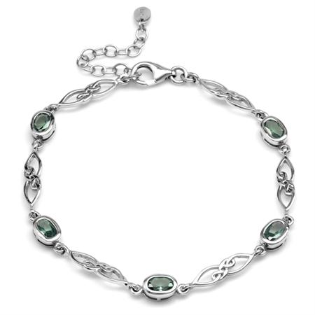 """Simulated Color Change Alexandrite 925 Sterling Silver Celtic Knot 7.25-8.75"""" Adj. Bracelet"""