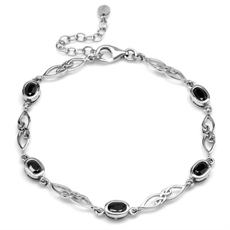 3.2ct. Natural Black Sapphire 925 Sterling Silver Celtic Knot 7.25-8.75 Inch Adj. Bracelet
