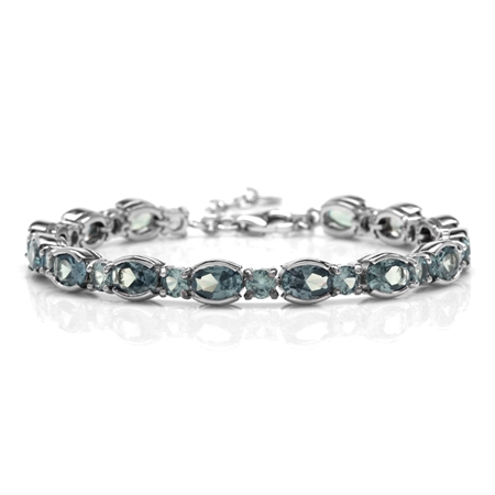 "Simulated Color Change Alexandrite White Gold Plated 925 Sterling Silver 6.75-8.25"" Adj. Bracelet"