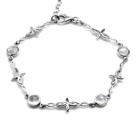 Natural Moonstone 925 Sterling Silver Intertwined Cross 7-8.5 Inch Adjustable Bracelet