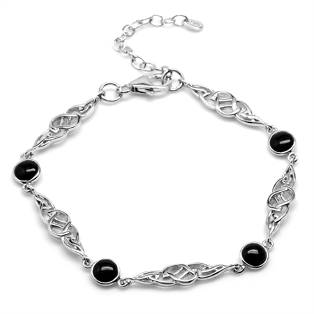 Created Black Onyx White Gold Plated 925 Sterling Silver Celtic Knot 7-8.5 Inch Adjustable Bracelet