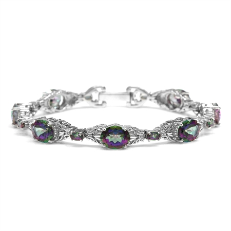 23.2ct. Mystic Fire Topaz White Gold Plated 925 Sterling Silver Victorian Style Bracelet 7.5 Inch.