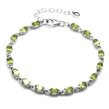 "7.99ct. Natural Peridot White Gold Plated 925 Sterling Silver Tennis 7-8.5"" Adjustable Bracelet"