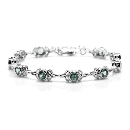 "Simulated Color Change Alexandrite 925 Sterling Silver Triquetra Celtic Knot 7-8.5"" Adj. Bracelet"