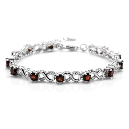 3.96ct. Natural Garnet White Gold Plated 925 Sterling Silver Infinity Knot 6.5-8 Inch Adj. Bracelet