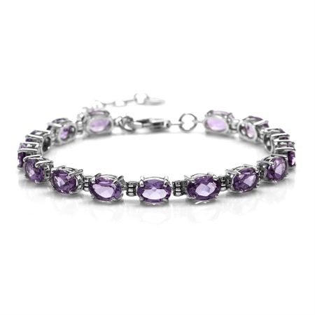 "11.25ct. Natural Amethyst 925 Sterling Silver 6-7.5"" Adjustable Tennis Bracelet"
