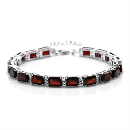 22.14ct. Natural Garnet & White Topaz 925 Sterling Silver Tennis Bracelet Adj. 7-8.5