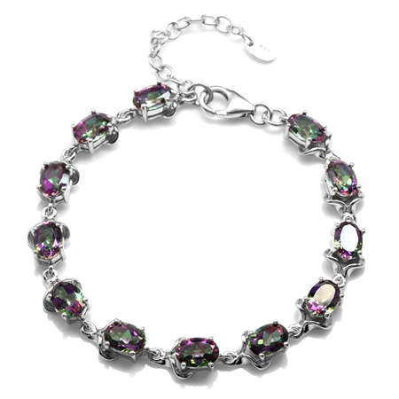 10.68ct. Mystic Fire Topaz White Gold Plated 925 Sterling Silver 6.5-8 Inch Adjustable Bracelet