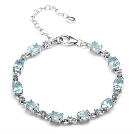 10ct. Genuine Blue Topaz White Gold Plated 925 Sterling Silver 6.5-8.5 Inch Adjustable Bracelet