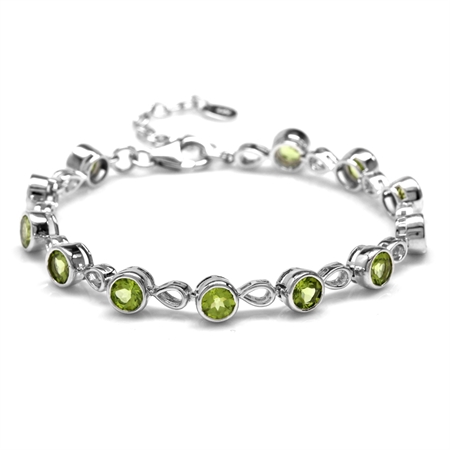 6.84ct. Natural Peridot White Gold Plated 925 Sterling Silver 6.25-7.75 Inch Adjustable Bracelet