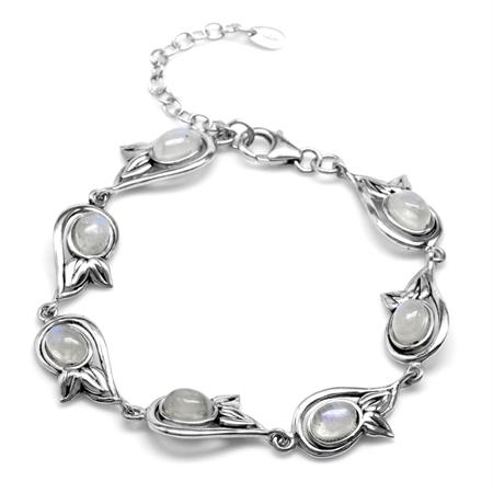 Natural Oval Shape Moonstone 925 Sterling Silver Leaf 6.75-8.25 Inch Adjustable Bracelet