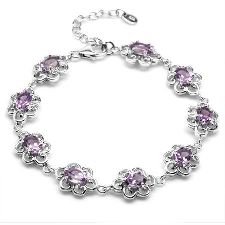 "6.75ct. Natural Amethyst 925 Sterling Silver Victorian Style Flower 7.25-8.75"" Adj. Bracelet"