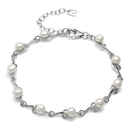 Cultured Freshwater Pearl White Gold Plated 925 Sterling Silver Knot 7-8.5 Inch Adjustable Bracelet