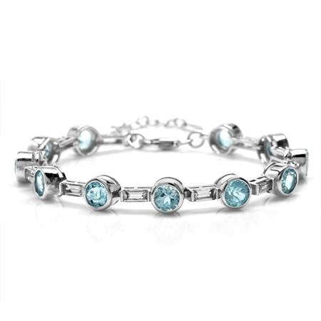11.22ct. Genuine Round Blue Topaz Bazel Set 925 Sterling Silver 6.75-8.25 Inch Adjustable Bracelet