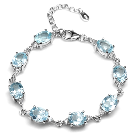 18.08ct. Genuine Blue Topaz White Gold Plated 925 Sterling Silver 6.75-8.25 Inch Adjustable Bracelet