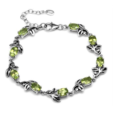 7.02ct. Natural Peridot 925 Sterling Silver Leaf Vintage Inspired 7-8.5 Inch Adjustable Bracelet