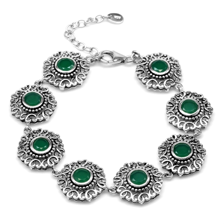 "6.16ct. Natural Emerald Green Agate 925 Sterling Silver Filigree Balinese Style 7-8.5"" Adj. Bracelet"