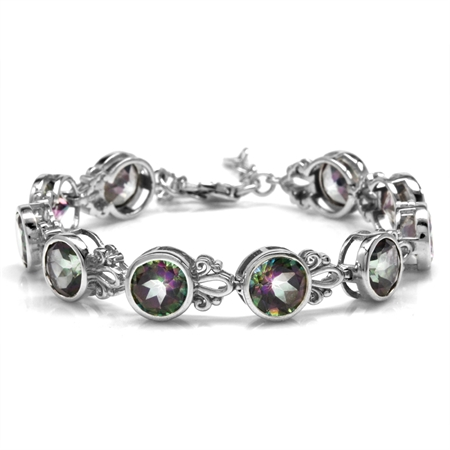 22ct. 8MM Round Shape Mystic Fire Topaz 925 Sterling Silver Filigree 6.5-8 Inch Adjustable Bracelet