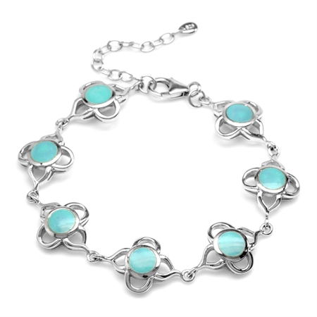 "6MM Created Green Turquoise Inlay White Gold Plated 925 Sterling Silver Flower 6.5-8"" Adj. Bracelet"