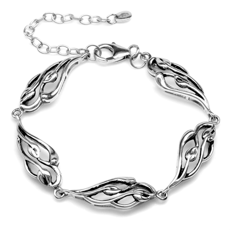 925 Sterling Silver Filigree Leaf Vintage Inspired 6-8 Inch Adjustable Bracelet
