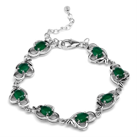 "5.76ct. Natural Emerald Green Agate 925 Sterling Silver Leaf Vintage Inspired 6.5-8"" Adj. Bracelet"