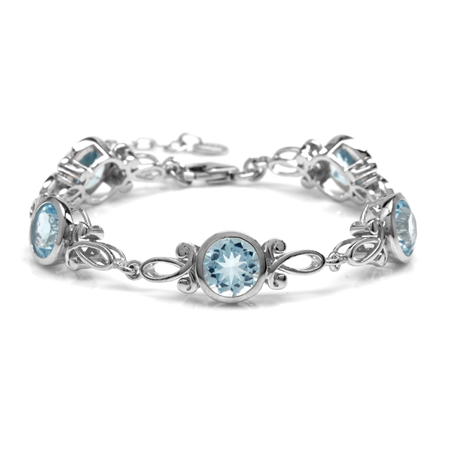 11.65ct. 8MM Genuine Round Shape Blue Topaz 925 Sterling Silver Swirl 6-8 Inch Adjustable Bracelet