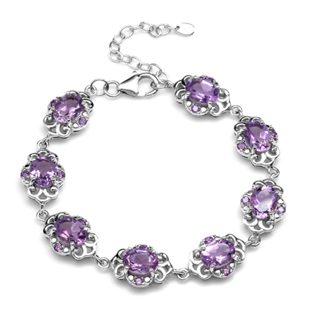 "9.76ct. Natural Amethyst White Gold Plated 925 Sterling Silver Filigree 6.5-8"" Adjustable Bracelet"
