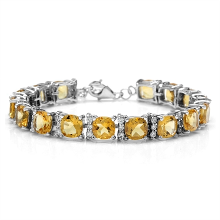 "21.44ct. Natural Cushion Shape Citrine White Gold Plated 925 Sterling Silver 6.5-7-8"" Adj. Bracelet"