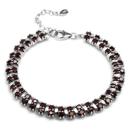 """9ct. Natural Garnet Double Row White Gold Plated 925 Sterling Silver 6.75-8.25"""" Adjustable Bracelet"""