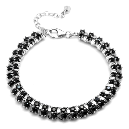 "9.6ct Natural Black Spinel Double Row White Gold Plated 925 Sterling Silver 6.75-8.25"" Adj. Bracelet"