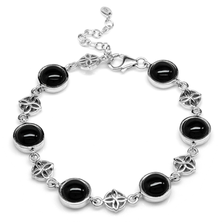 Created Black Onyx White Gold Plated 925 Sterling Silver Flower Celtic Knot 7-8.5 Inch Adj. Bracelet