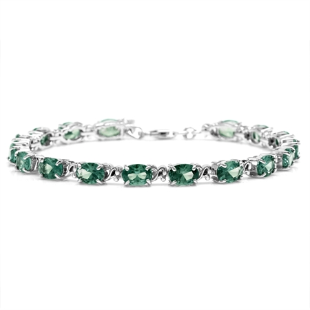 Simulated Color Change Alexandrite 925 Sterling Silver Victorian Style 7.5-9 Inch Adj. Bracelet