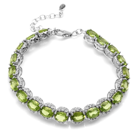 17.6ct. Natural Oval Shape Peridot White Gold Plated 925 Sterling Silver  6.5-7-8 Inch Adj. Bracelet