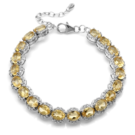 14.8ct. Natural Oval Shape Citrine White Gold Plated 925 Sterling Silver  6.5-7-8 Inch Adj. Bracelet